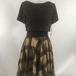 Eva Franco Brown Tan Mira Popover Dress NWT sz 8